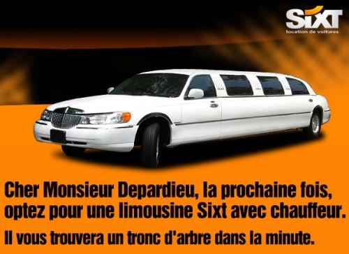 Campagne pub affichage sixt depardieu