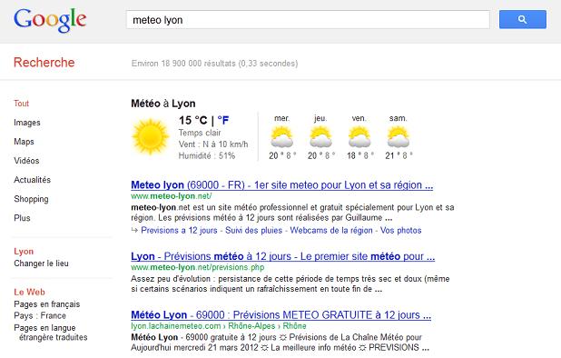 recherche sémantique météo google