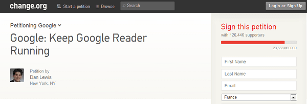 Petition Google Reader