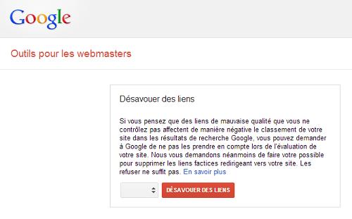 outil de désaveu de liens Google