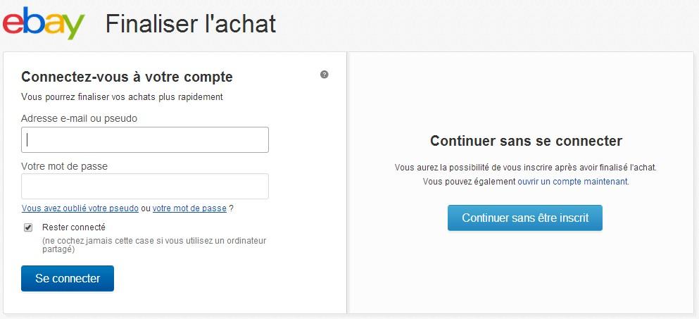 commande sans création de compte ebay