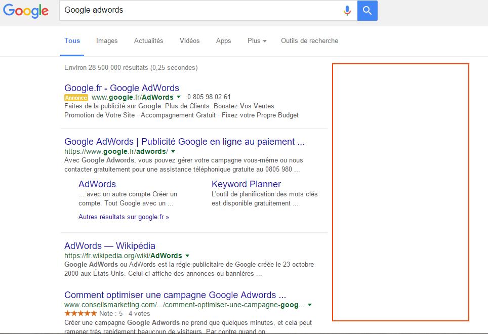 Google adwords colonne de droite