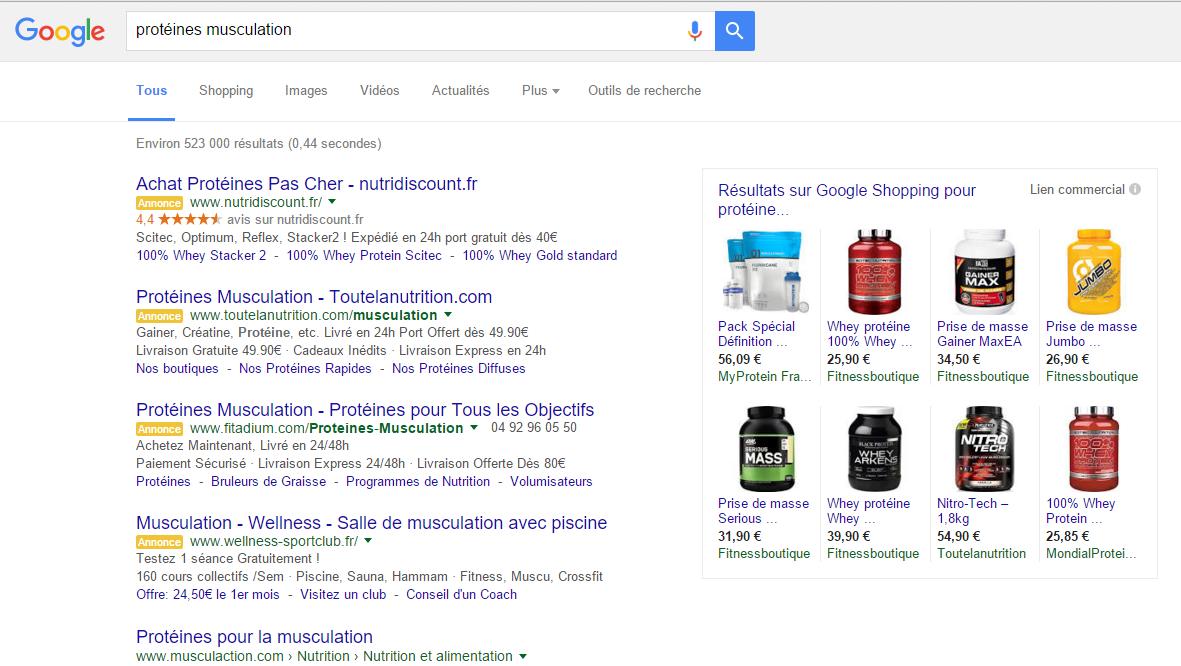 Google ligne de flottaison page de résultat pla