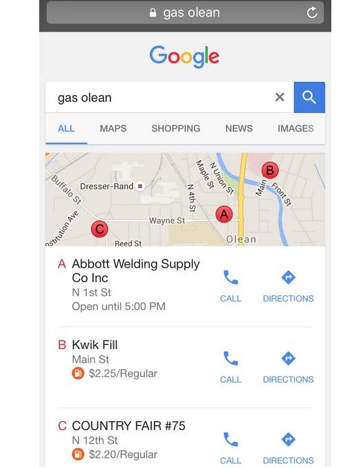 google affiche le prix des carburants