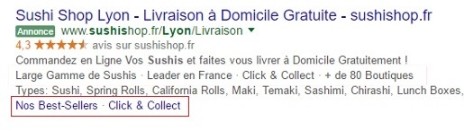 extension liens annexes adwords